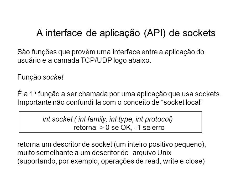 A interface de aplicação (API) de sockets São funções que provêm uma interface entre a aplicação do usuário e a camada TCP/UDP logo abaixo. Função soc