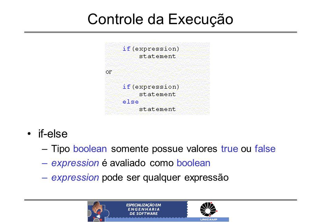 Controle da Execução if-else –Tipo boolean somente possue valores true ou false –expression é avaliado como boolean –expression pode ser qualquer expr