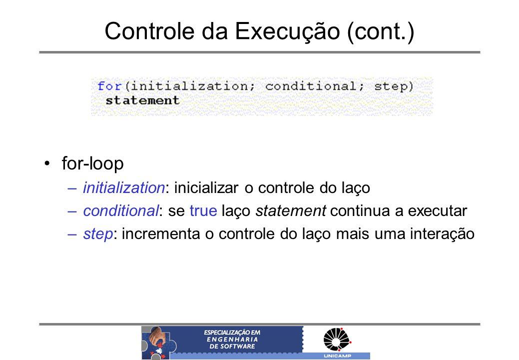 Controle da Execução (cont.) for-loop –initialization: inicializar o controle do laço –conditional: se true laço statement continua a executar –step: