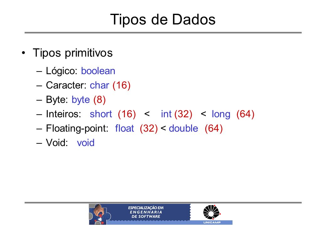 Tipos de Dados Tipos primitivos –Lógico: boolean –Caracter: char (16) –Byte: byte (8) –Inteiros: short (16) < int (32) < long (64) –Floating-point: float (32) < double (64) –Void: void