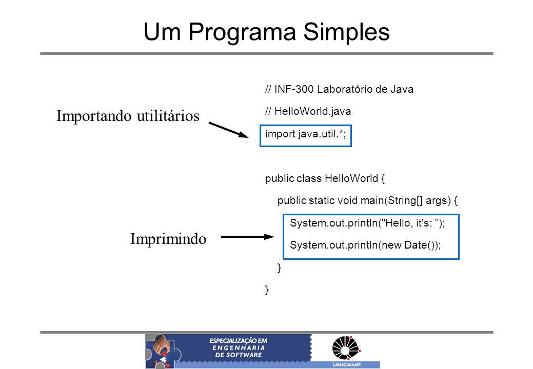 Um Programa Simples // INF-300 Laboratório de Java // HelloWorld.java import java.util.*; public class HelloWorld { public static void main(String[] a