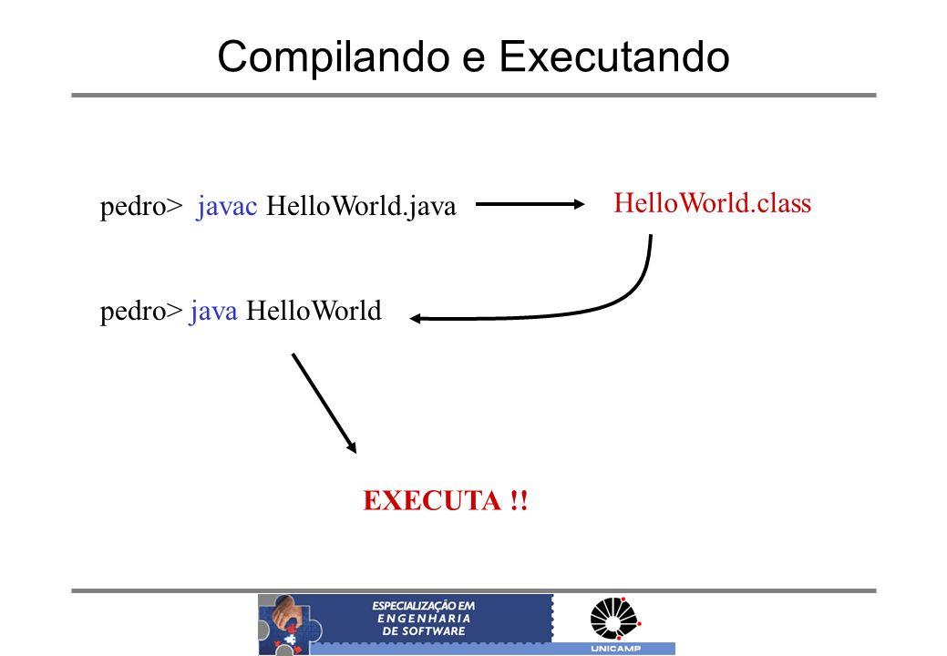 Compilando e Executando pedro> javac HelloWorld.java pedro> java HelloWorld HelloWorld.class EXECUTA !!
