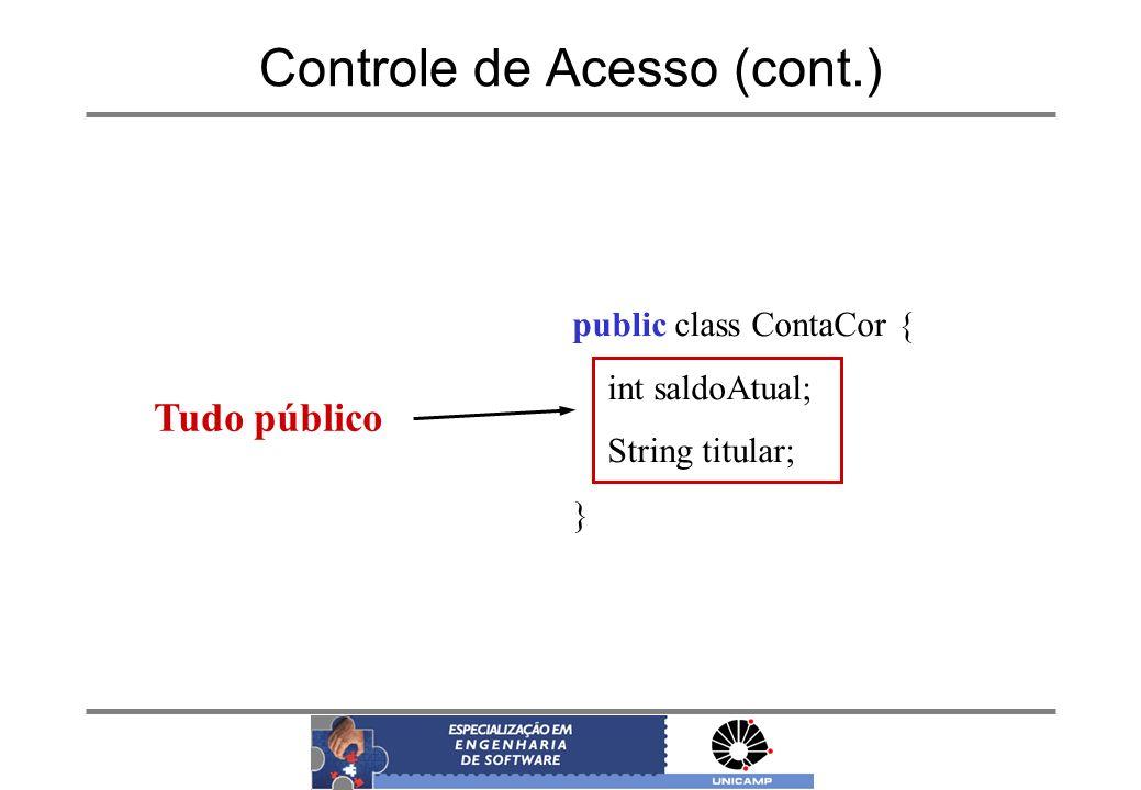 Controle de Acesso (cont.) public class ContaCor { int saldoAtual; String titular; } Tudo público