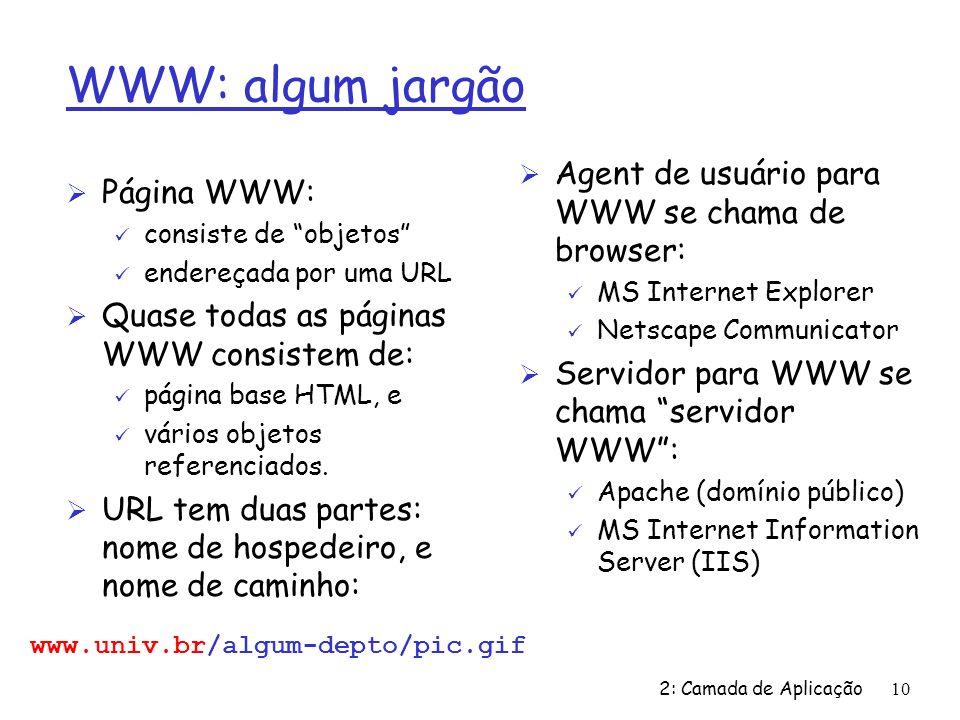 2: Camada de Aplicação10 WWW: algum jargão Ø Página WWW: ü consiste de objetos ü endereçada por uma URL Ø Quase todas as páginas WWW consistem de: ü p