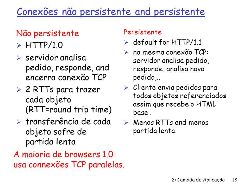 2: Camada de Aplicação15 Conexões não persistente and persistente Não persistente Ø HTTP/1.0 Ø servidor analisa pedido, responde, and encerra conexão