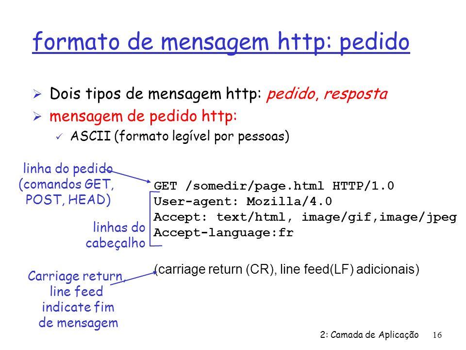 2: Camada de Aplicação16 formato de mensagem http: pedido Ø Dois tipos de mensagem http: pedido, resposta Ø mensagem de pedido http: ü ASCII (formato