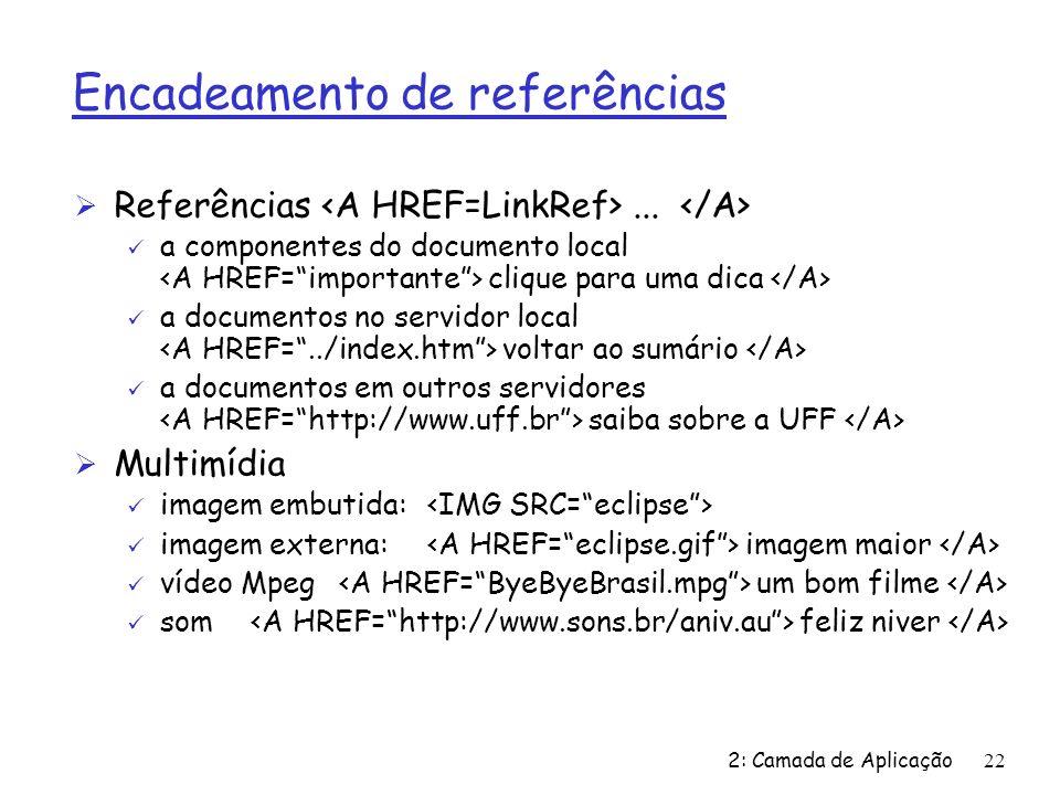 2: Camada de Aplicação22 Encadeamento de referências Ø Referências... ü a componentes do documento local clique para uma dica ü a documentos no servid