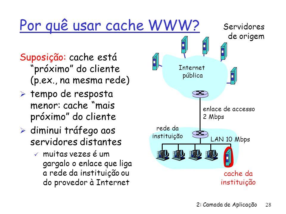 2: Camada de Aplicação28 Por quê usar cache WWW? Suposição: cache está próximo do cliente (p.ex., na mesma rede) Ø tempo de resposta menor: cache mais
