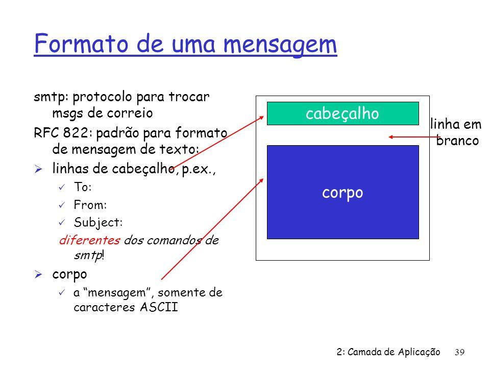 2: Camada de Aplicação39 Formato de uma mensagem smtp: protocolo para trocar msgs de correio RFC 822: padrão para formato de mensagem de texto: Ø linh