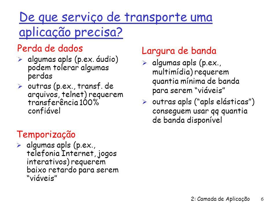 2: Camada de Aplicação6 De que serviço de transporte uma aplicação precisa? Perda de dados Ø algumas apls (p.ex. áudio) podem tolerar algumas perdas Ø