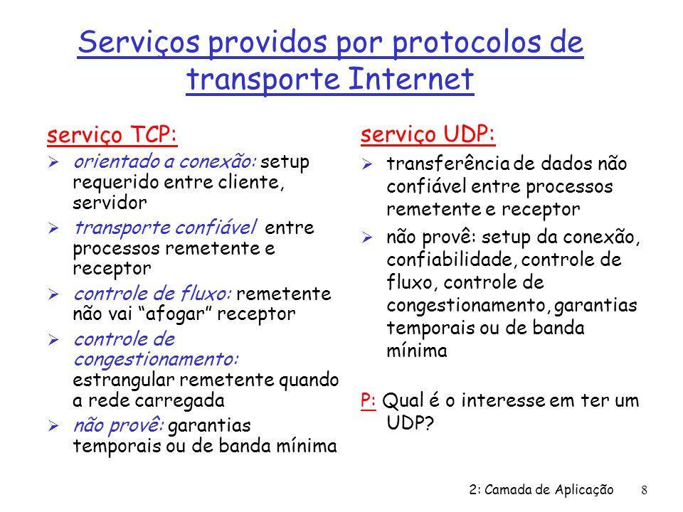 2: Camada de Aplicação9 Apls Internet: seus protocolos e seus protocolos de transporte Aplicação correio eletrônico accesso terminal remoto WWW transferência de arquivos streaming multimídia servidor de arquivo remoto telefonia Internet Protocolo da camada de apl smtp [RFC 821] telnet [RFC 854] http [RFC 2068] ftp [RFC 959] proprietário (p.ex.