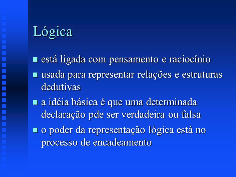 Lógica n está ligada com pensamento e raciocínio n usada para representar relações e estruturas dedutivas n a idéia básica é que uma determinada decla