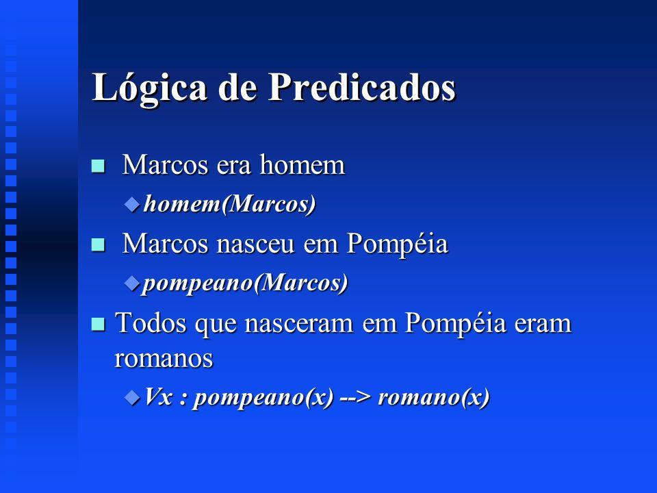 Lógica de Predicados n Marcos era homem u homem(Marcos) n Marcos nasceu em Pompéia u pompeano(Marcos) n Todos que nasceram em Pompéia eram romanos u V