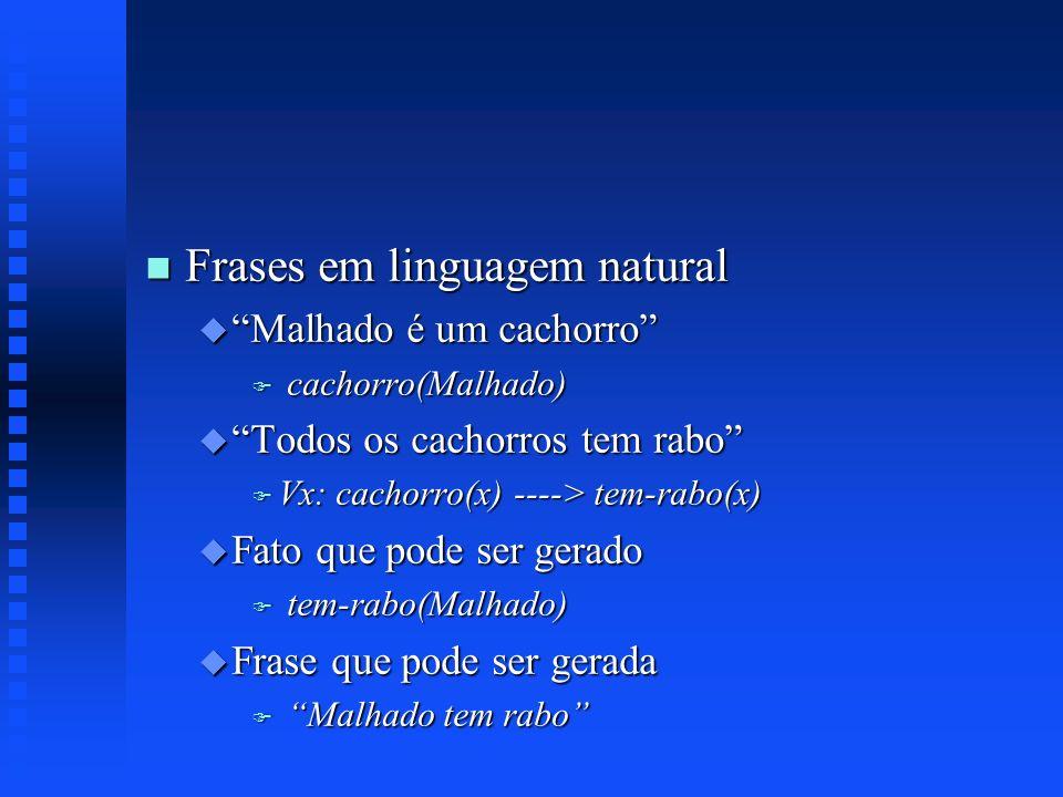 n Frases em linguagem natural u Malhado é um cachorro F cachorro(Malhado) u Todos os cachorros tem rabo F Vx: cachorro(x) ----> tem-rabo(x) u Fato que