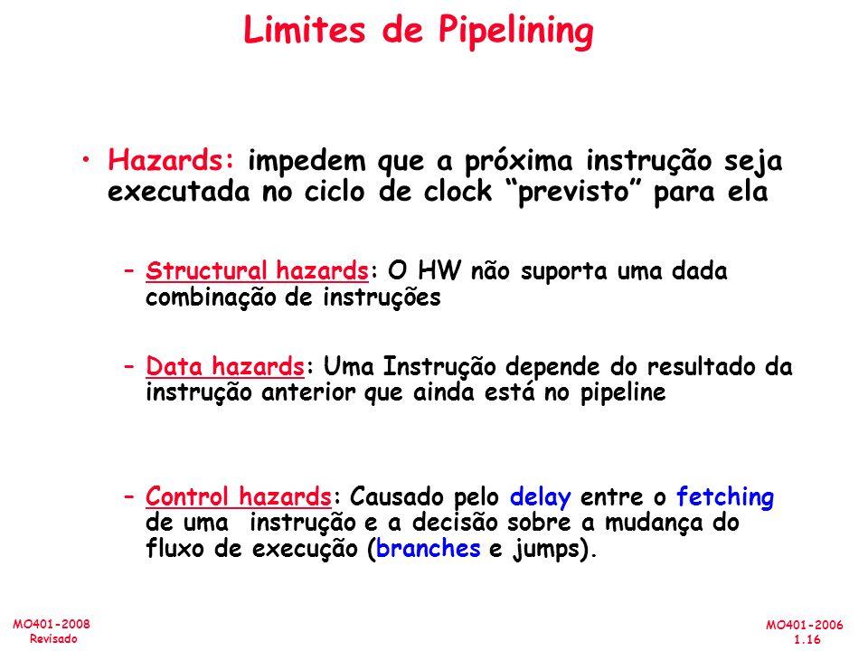 MO401-2006 1.16 MO401-2008 Revisado Limites de Pipelining Hazards: impedem que a próxima instrução seja executada no ciclo de clock previsto para ela –Structural hazards: O HW não suporta uma dada combinação de instruções –Data hazards: Uma Instrução depende do resultado da instrução anterior que ainda está no pipeline –Control hazards: Causado pelo delay entre o fetching de uma instrução e a decisão sobre a mudança do fluxo de execução (branches e jumps).