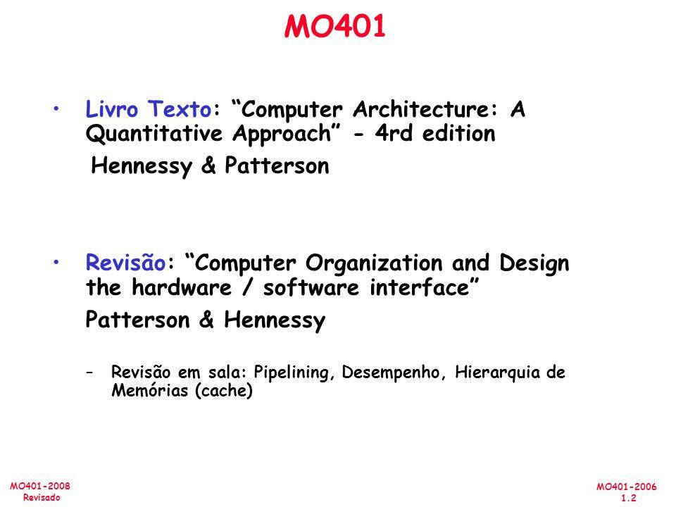 MO401-2006 1.2 MO401-2008 Revisado MO401 Livro Texto: Computer Architecture: A Quantitative Approach - 4rd edition Hennessy & Patterson Revisão: Computer Organization and Design the hardware / software interface Patterson & Hennessy –Revisão em sala: Pipelining, Desempenho, Hierarquia de Memórias (cache)