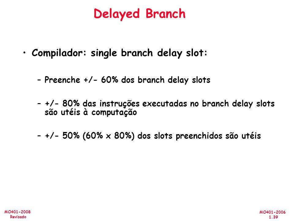 MO401-2006 1.39 MO401-2008 Revisado Delayed Branch Compilador: single branch delay slot: –Preenche +/- 60% dos branch delay slots –+/- 80% das instruções executadas no branch delay slots são utéis à computação –+/- 50% (60% x 80%) dos slots preenchidos são utéis