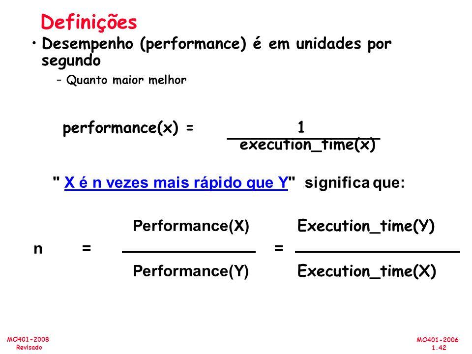 MO401-2006 1.42 MO401-2008 Revisado Performance(X) Execution_time(Y) n == Performance(Y) Execution_time(X) Definições Desempenho (performance) é em unidades por segundo –Quanto maior melhor performance(x) = 1 execution_time(x) X é n vezes mais rápido que Y significa que: