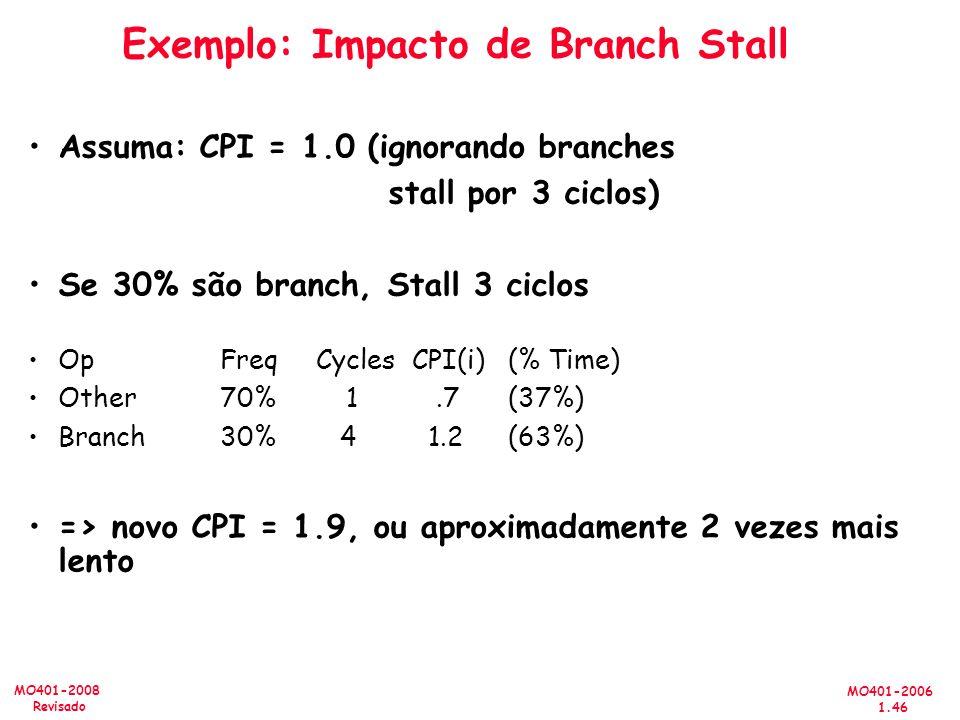 MO401-2006 1.46 MO401-2008 Revisado Exemplo: Impacto de Branch Stall Assuma: CPI = 1.0 (ignorando branches stall por 3 ciclos) Se 30% são branch, Stall 3 ciclos OpFreqCyclesCPI(i)(% Time) Other 70% 1.7(37%) Branch30% 4 1.2(63%) => novo CPI = 1.9, ou aproximadamente 2 vezes mais lento