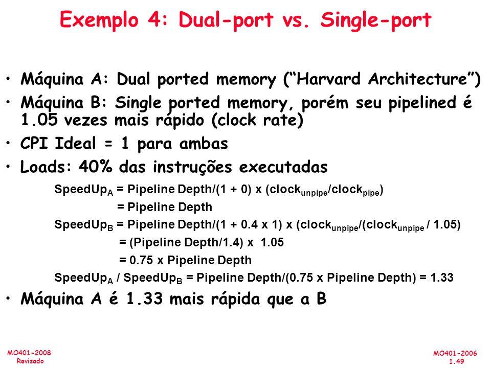 MO401-2006 1.49 MO401-2008 Revisado Exemplo 4: Dual-port vs. Single-port Máquina A: Dual ported memory (Harvard Architecture) Máquina B: Single ported