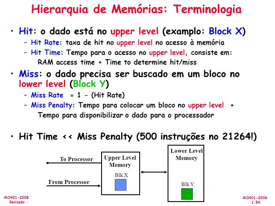 MO401-2006 1.54 MO401-2008 Revisado Hierarquia de Memórias: Terminologia Hit: o dado está no upper level (examplo: Block X) –Hit Rate: taxa de hit no upper level no acesso à memória –Hit Time: Tempo para o acesso no upper level, consiste em: RAM access time + Time to determine hit/miss Miss: o dado precisa ser buscado em um bloco no lower level (Block Y) –Miss Rate = 1 - (Hit Rate) –Miss Penalty: Tempo para colocar um bloco no upper level + Tempo para disponibilizar o dado para o processador Hit Time << Miss Penalty (500 instruções no 21264!) Lower Level Memory Upper Level Memory To Processor From Processor Blk X Blk Y