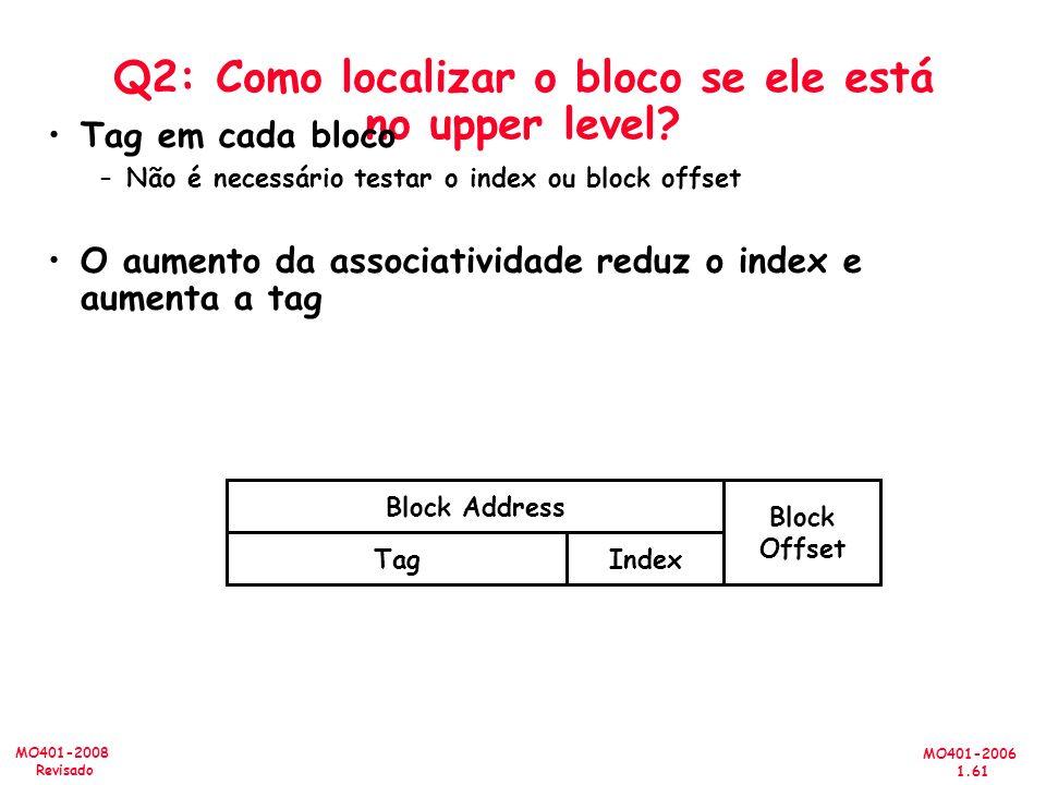 MO401-2006 1.61 MO401-2008 Revisado Q2: Como localizar o bloco se ele está no upper level? Tag em cada bloco –Não é necessário testar o index ou block
