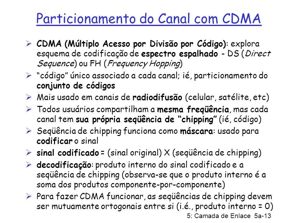 5: Camada de Enlace 5a-13 Particionamento do Canal com CDMA CDMA (Múltiplo Acesso por Divisão por Código): explora esquema de codificação de espectro