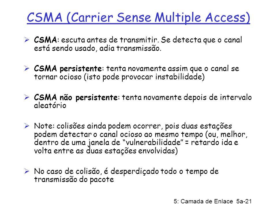 5: Camada de Enlace 5a-21 CSMA (Carrier Sense Multiple Access) CSMA: escuta antes de transmitir. Se detecta que o canal está sendo usado, adia transmi
