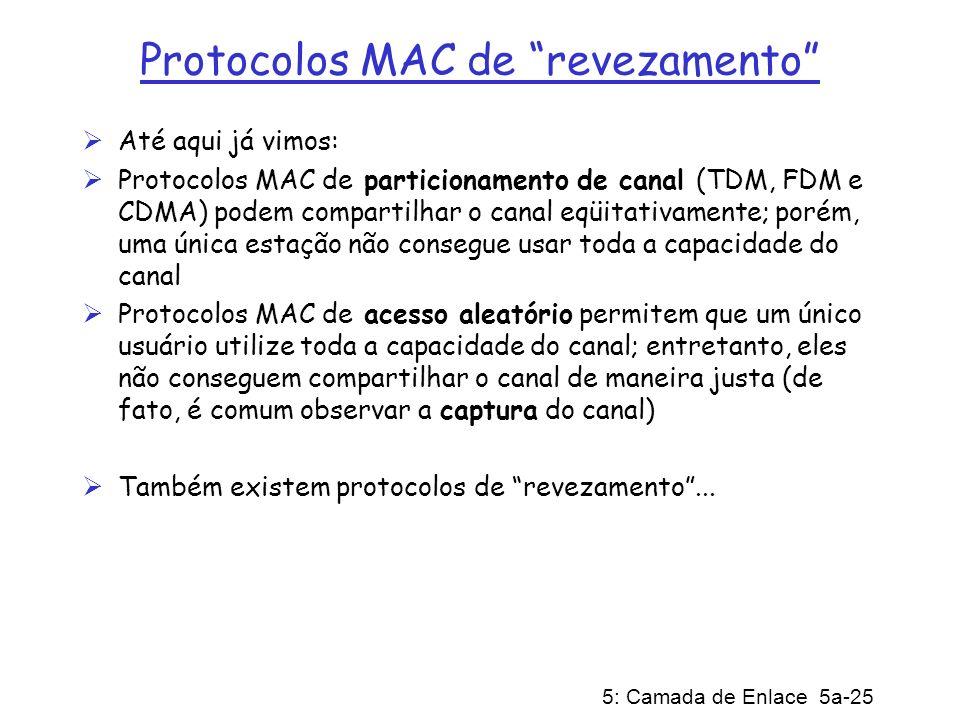 5: Camada de Enlace 5a-25 Protocolos MAC de revezamento Até aqui já vimos: Protocolos MAC de particionamento de canal (TDM, FDM e CDMA) podem comparti