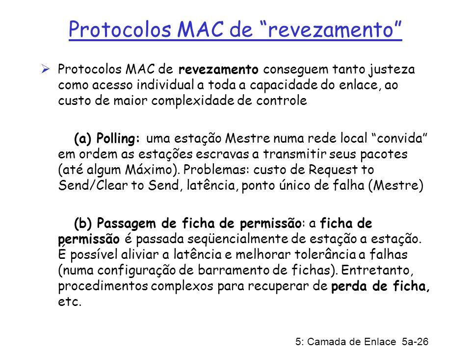 5: Camada de Enlace 5a-26 Protocolos MAC de revezamento Protocolos MAC de revezamento conseguem tanto justeza como acesso individual a toda a capacida