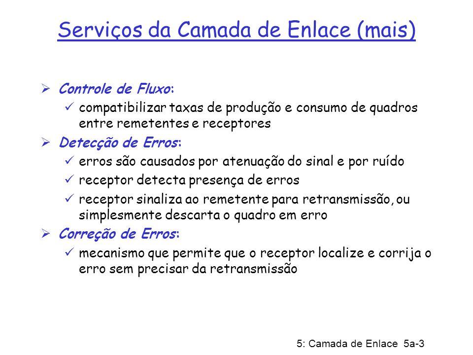 5: Camada de Enlace 5a-3 Serviços da Camada de Enlace (mais) Controle de Fluxo: compatibilizar taxas de produção e consumo de quadros entre remetentes