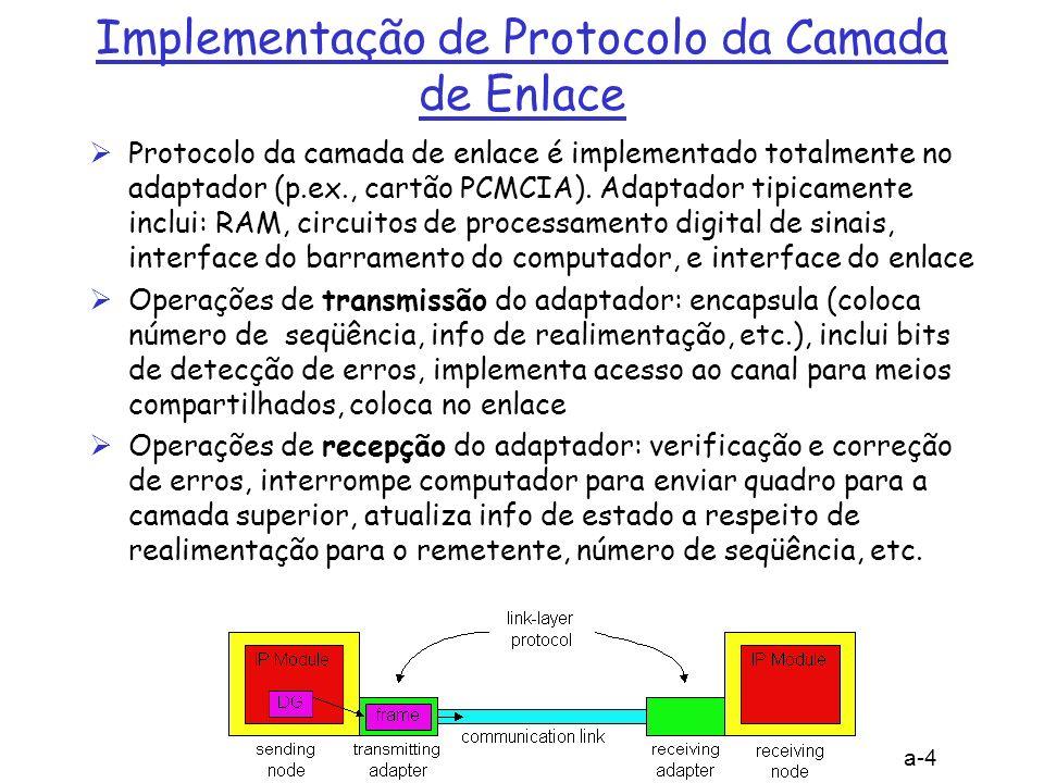 5: Camada de Enlace 5a-5 Detecção de Erros EDC= bits de Detecção e Correção de Erros (redundância) D = Dados protegidos por verificação de erros, podem incluir alguns campos do cabeçalho detecção de erros não é 100% perfeita; protocolo pode não identificar alguns erros, mas é raro maior campo de EDC permite melhorar detecção e correção