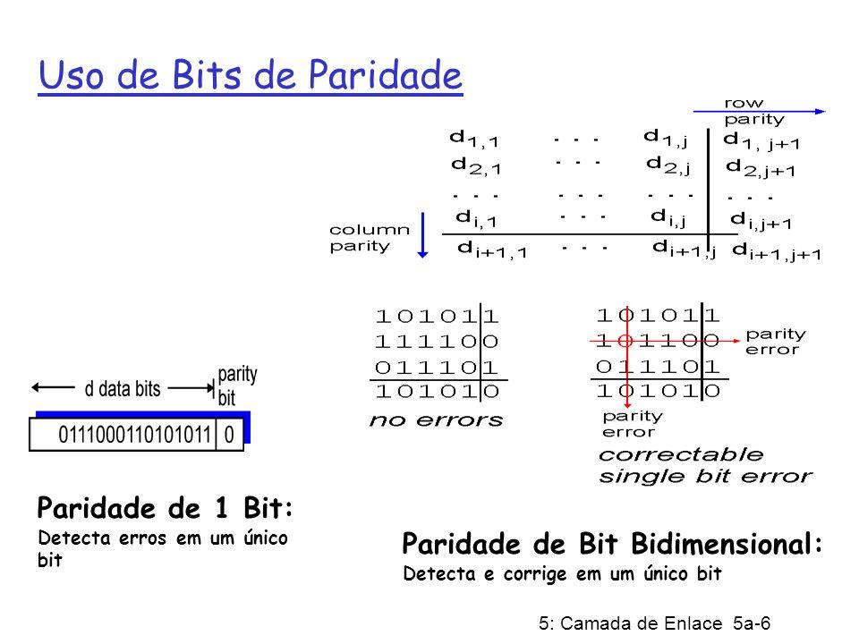 5: Camada de Enlace 5a-6 Uso de Bits de Paridade Paridade de 1 Bit: Detecta erros em um único bit Paridade de Bit Bidimensional: Detecta e corrige em