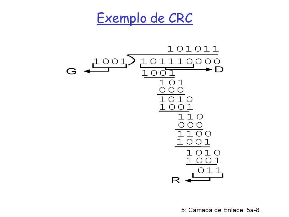 5: Camada de Enlace 5a-9 Implementação de CRC (cont) Remetente realiza em tempo real por hardware a divisão da seqüência D pelo polinômio G e acrescenta o resto R a D O receptor divide por G; se o resto for diferente de zero, a transmissão teve erro Padrões internacionais de polinômios G de graus 8, 12, 15 e 32 já foram definidos A ARPANET utilizava um CRC de 24 bits no protocolo de enlace de bit alternado ATM utiliza um CRC de 32 bits em AAL5 HDLC utiliza um CRC de 16 bits