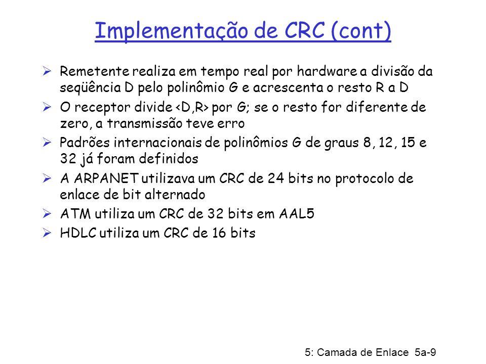 5: Camada de Enlace 5a-9 Implementação de CRC (cont) Remetente realiza em tempo real por hardware a divisão da seqüência D pelo polinômio G e acrescen
