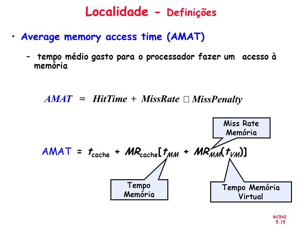 MC542 5.15 Localidade - Definições Average memory access time (AMAT) – tempo médio gasto para o processador fazer um acesso à memória AMAT = t cache +