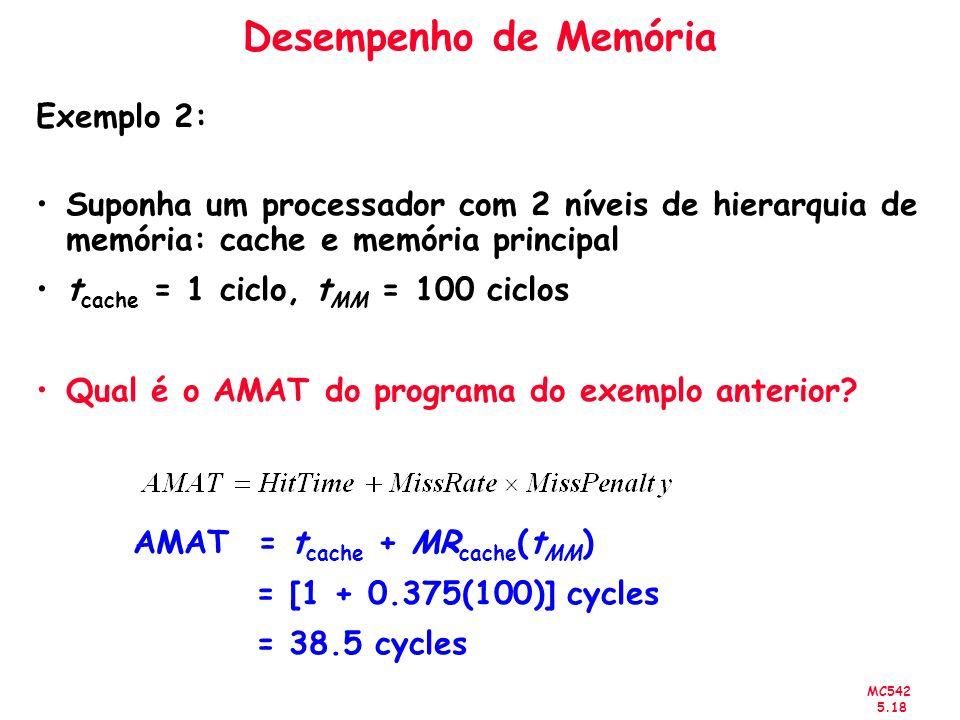 MC542 5.18 Desempenho de Memória Exemplo 2: Suponha um processador com 2 níveis de hierarquia de memória: cache e memória principal t cache = 1 ciclo,