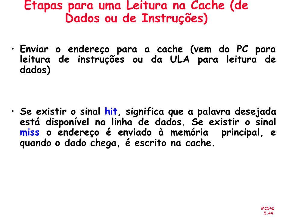 MC542 5.44 Etapas para uma Leitura na Cache (de Dados ou de Instruções) Enviar o endereço para a cache (vem do PC para leitura de instruções ou da ULA