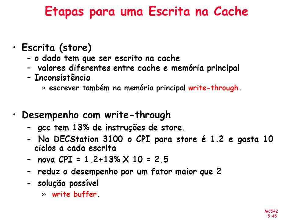 MC542 5.45 Etapas para uma Escrita na Cache Escrita (store) –o dado tem que ser escrito na cache – valores diferentes entre cache e memória principal
