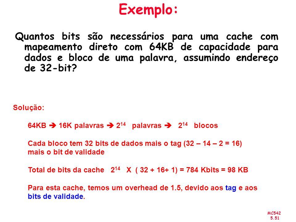 MC542 5.51 Exemplo: Quantos bits são necessários para uma cache com mapeamento direto com 64KB de capacidade para dados e bloco de uma palavra, assumi
