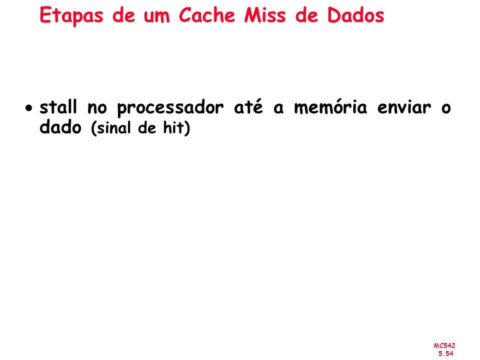 MC542 5.54 Etapas de um Cache Miss de Dados stall no processador até a memória enviar o dado (sinal de hit)