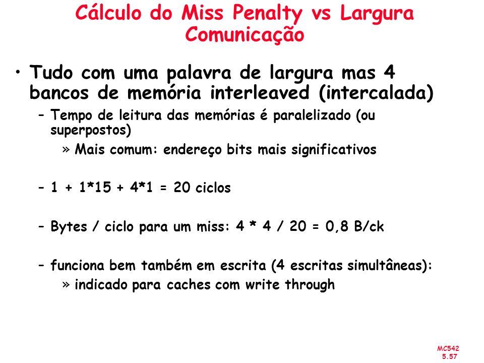 MC542 5.57 Cálculo do Miss Penalty vs Largura Comunicação Tudo com uma palavra de largura mas 4 bancos de memória interleaved (intercalada) –Tempo de