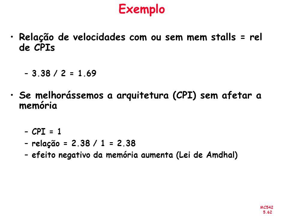 MC542 5.62 Exemplo Relação de velocidades com ou sem mem stalls = rel de CPIs –3.38 / 2 = 1.69 Se melhorássemos a arquitetura (CPI) sem afetar a memór