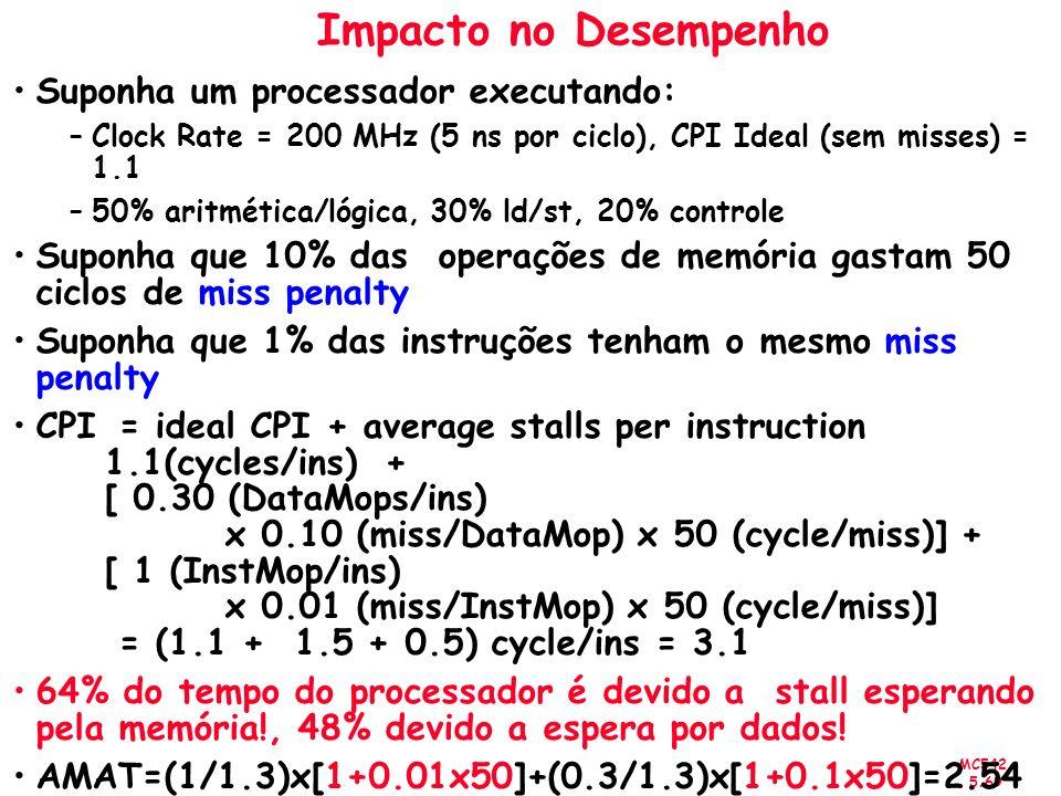 MC542 5.69 Impacto no Desempenho Suponha um processador executando: –Clock Rate = 200 MHz (5 ns por ciclo), CPI Ideal (sem misses) = 1.1 –50% aritméti