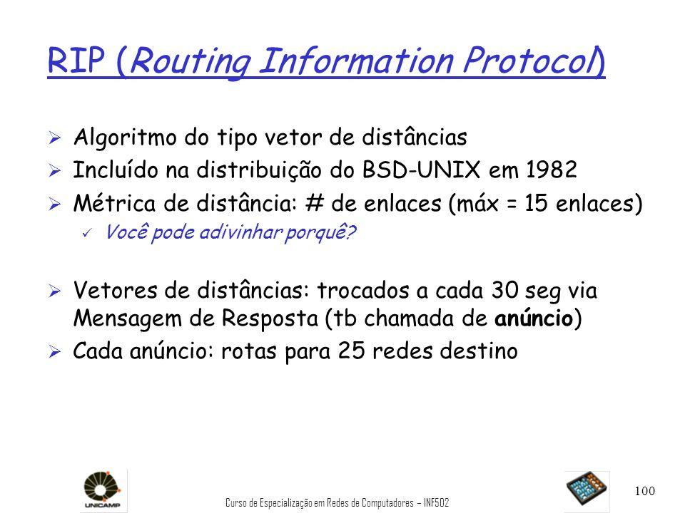Curso de Especialização em Redes de Computadores – INF502 100 RIP (Routing Information Protocol) Ø Algoritmo do tipo vetor de distâncias Ø Incluído na
