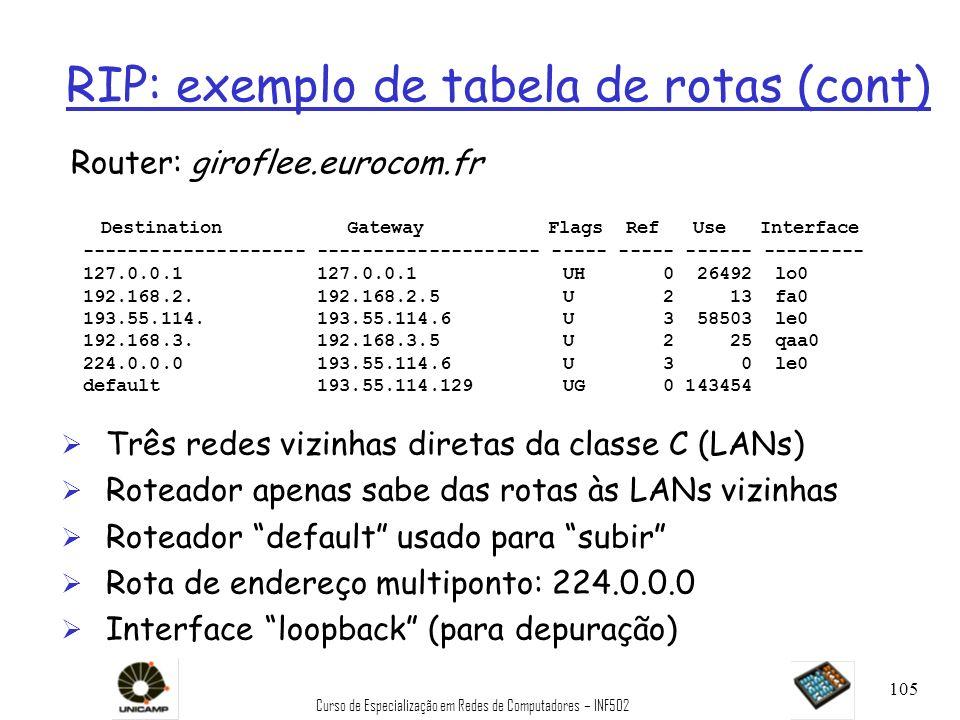 Curso de Especialização em Redes de Computadores – INF502 105 RIP: exemplo de tabela de rotas (cont) Router: giroflee.eurocom.fr Ø Três redes vizinhas