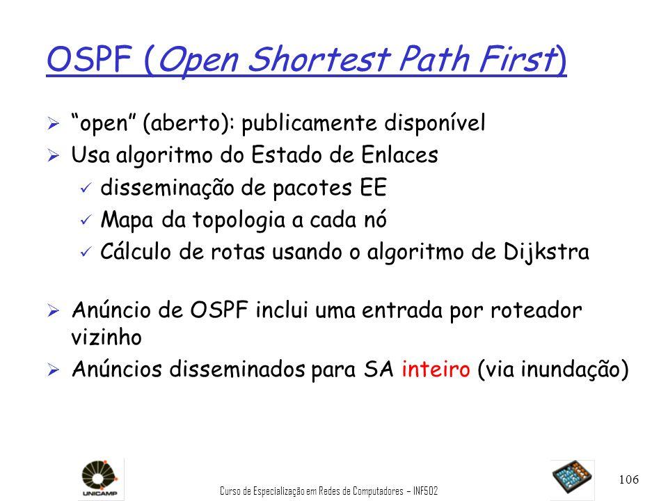 Curso de Especialização em Redes de Computadores – INF502 106 OSPF (Open Shortest Path First) Ø open (aberto): publicamente disponível Ø Usa algoritmo