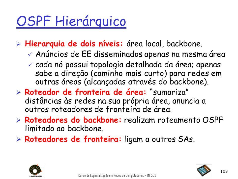 Curso de Especialização em Redes de Computadores – INF502 109 OSPF Hierárquico Ø Hierarquia de dois níveis: área local, backbone. ü Anúncios de EE dis