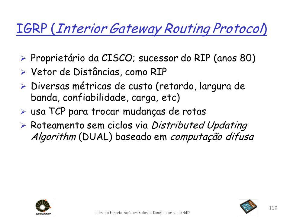 Curso de Especialização em Redes de Computadores – INF502 110 IGRP (Interior Gateway Routing Protocol) Ø Proprietário da CISCO; sucessor do RIP (anos