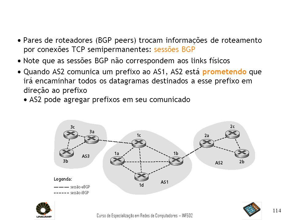 Curso de Especialização em Redes de Computadores – INF502 114 Pares de roteadores (BGP peers) trocam informações de roteamento por conexões TCP semipe
